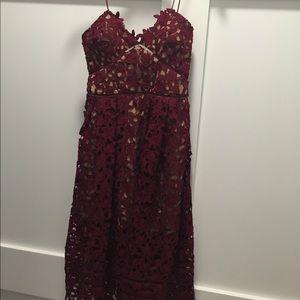 Self portrait size 6 burgundy dress worn once
